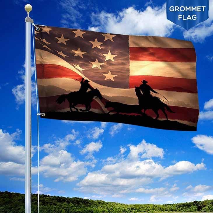 American Cowboy Grommet Flag