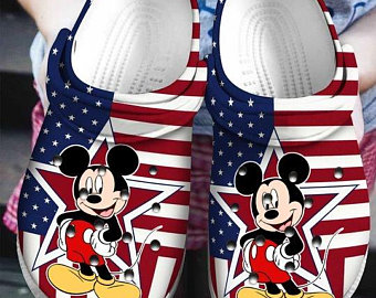 American Flag Mickey Mouse croc crocband shoes