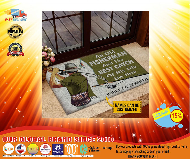 An old fisherman and the best catch of his life live here custom name doormat3