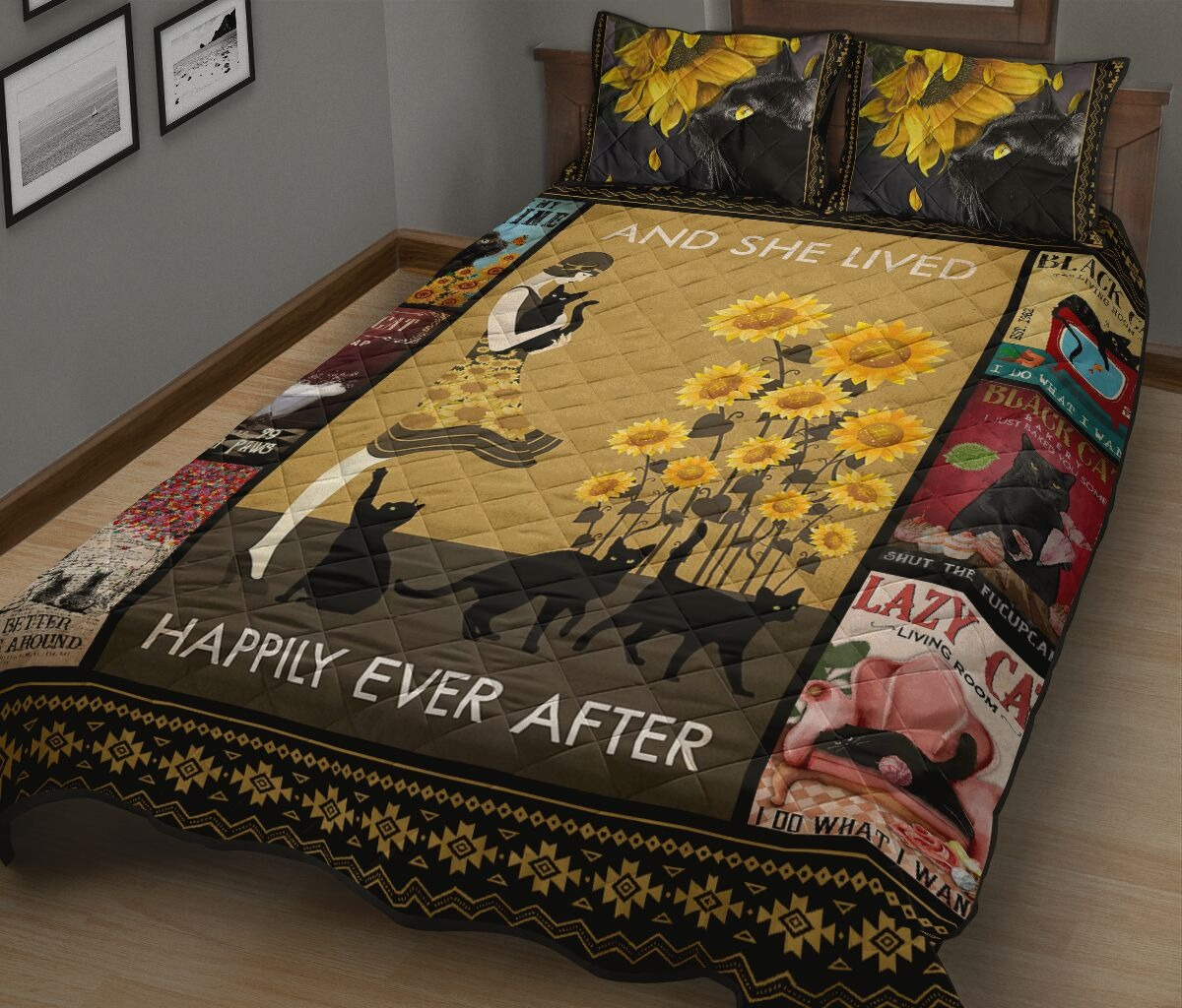 And she lived happily ever after with black cat quilt bedding set