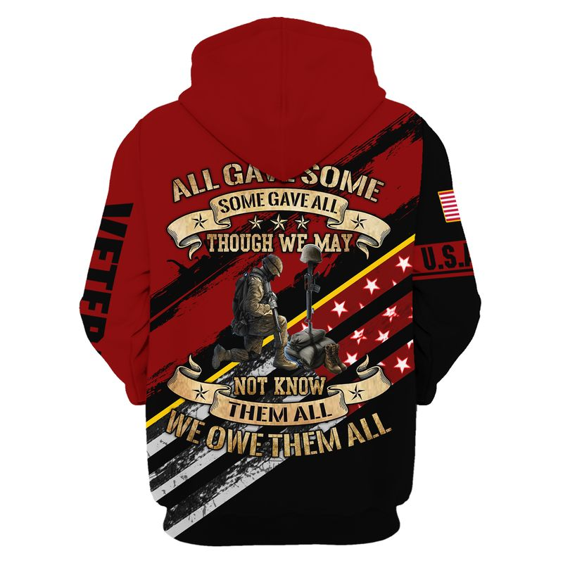 Army Veteran Eagle honor the fallen all gave some some gave all 3d hoodie and shirt 1