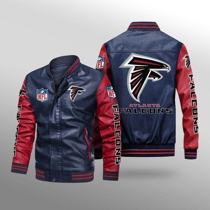 Atlanta Falcons Leather Bomber Jacket 4