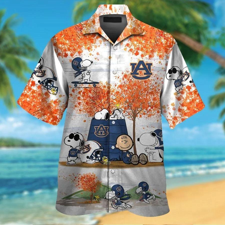 Auburn Tigers Snoopy Autumn Hawaiian Shirt Shorts1