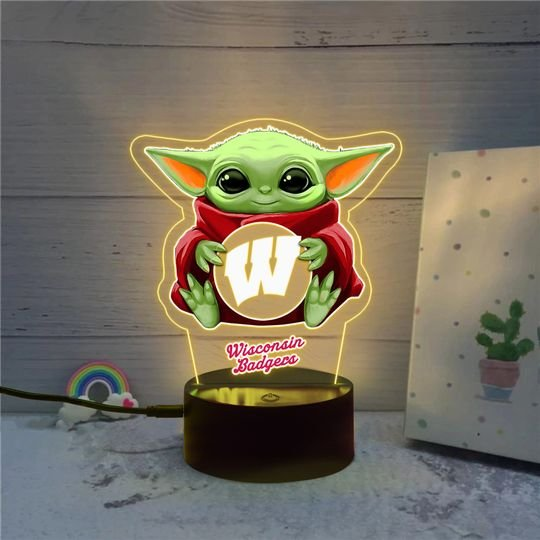 Baby Yoda Wisconsin Badgers NCAA Led lamp