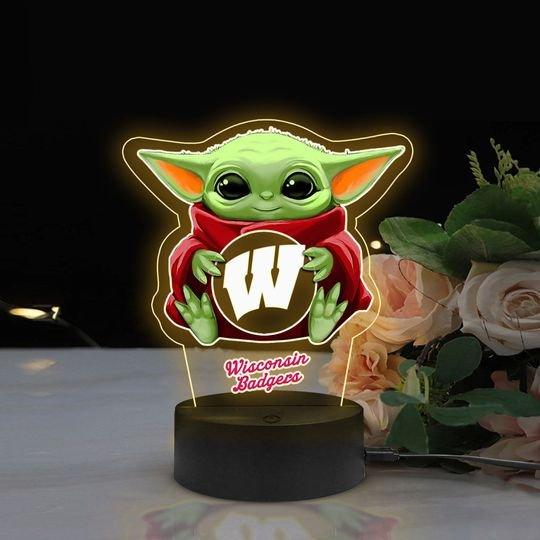 Baby Yoda Wisconsin Badgers NCAA Led lamp1