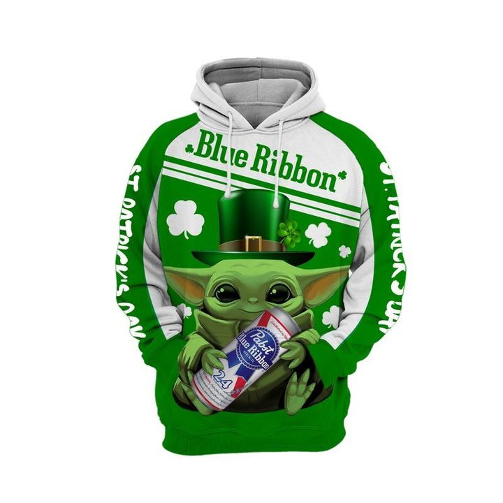 Baby yoda Blue ribbon 3d all over print hoodie 1