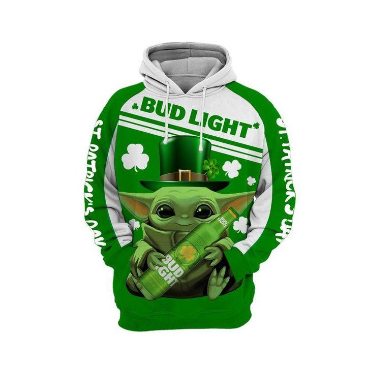 Baby yoda bud light 3d all over print hoodie 1