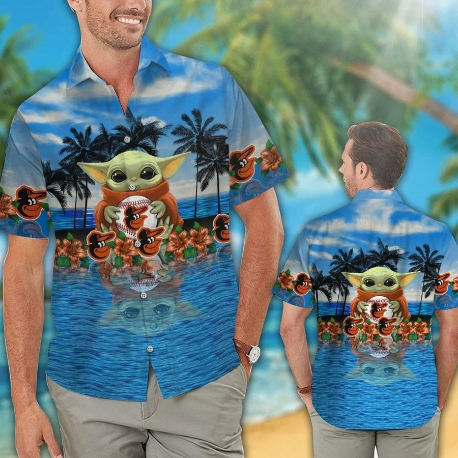 Baltimore Orioles Baby Yoda Hawaiian Shirt Short