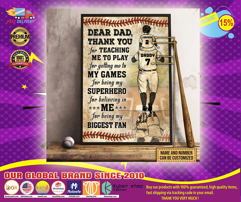 Baseball dear dad thank you for teach me to play custom name and number poster2