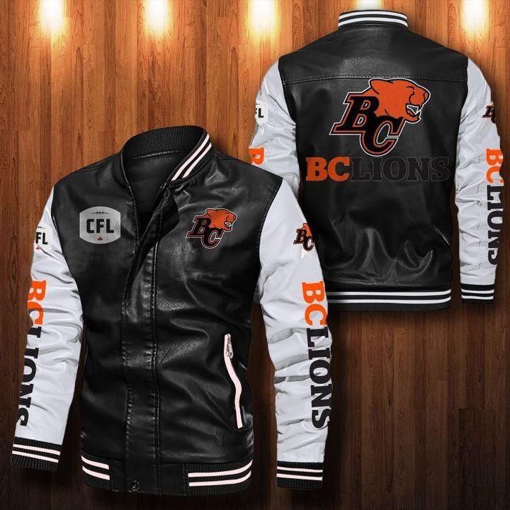 Bc Lions Leather Bomber Jacket 1