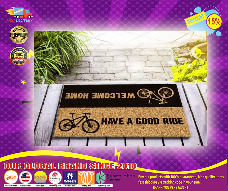 Bicycle welcome home have a good ride doormat