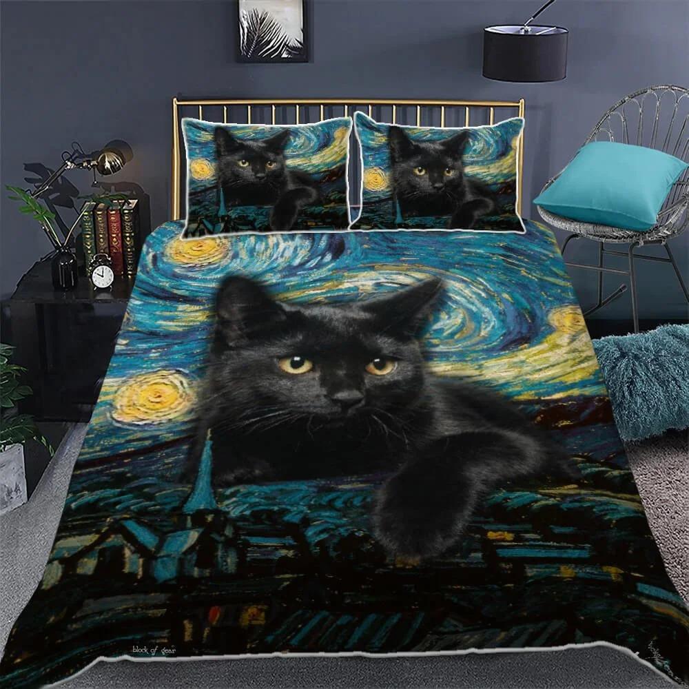 Black Cat Starry Night Quilt Bedding Set 1