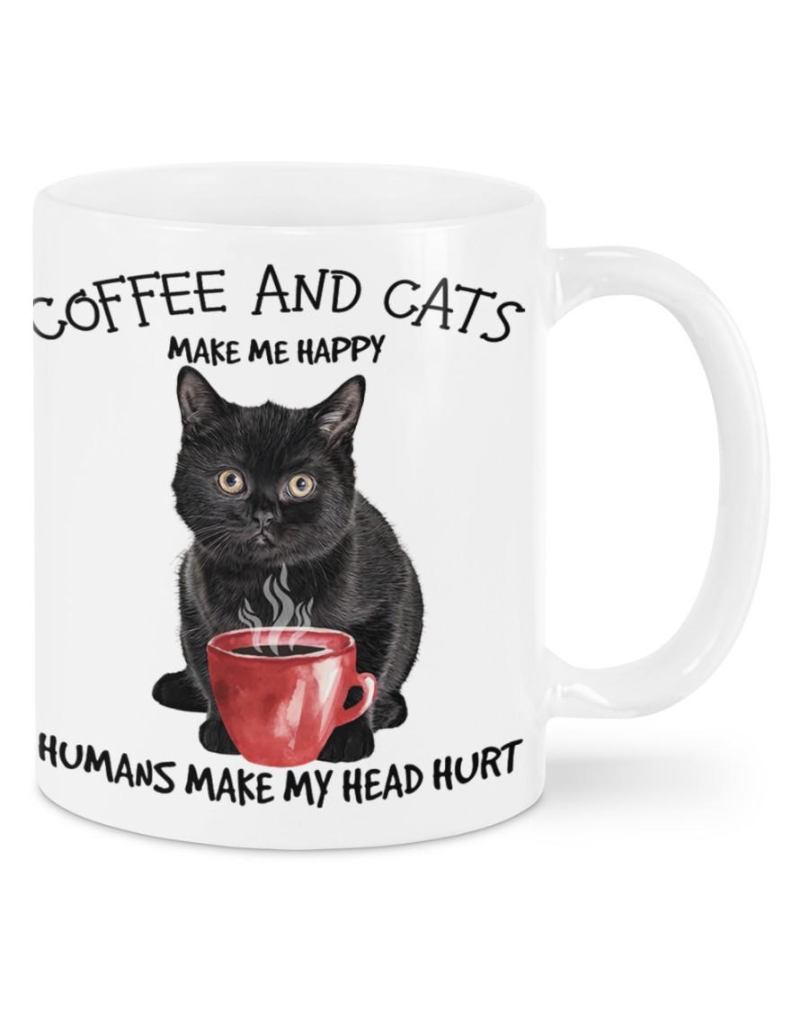 Black Cat and coffee make me happy humans make me head hurt mug