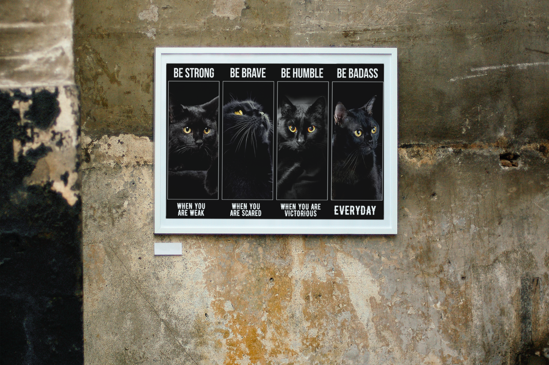 Black cat be strong be brave be humble be badass poster11