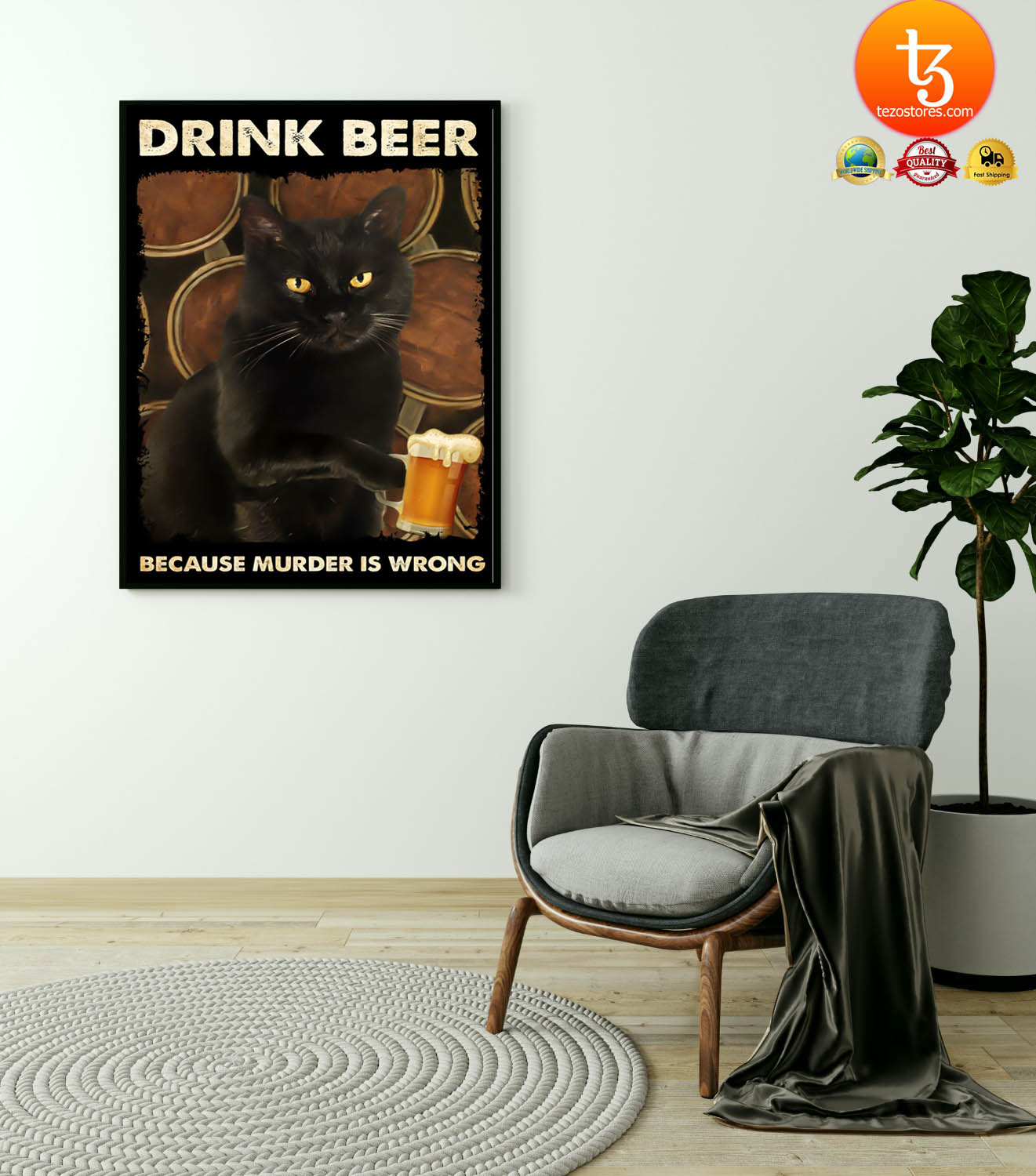 Black cat drink beer because murder is wrong poster 13