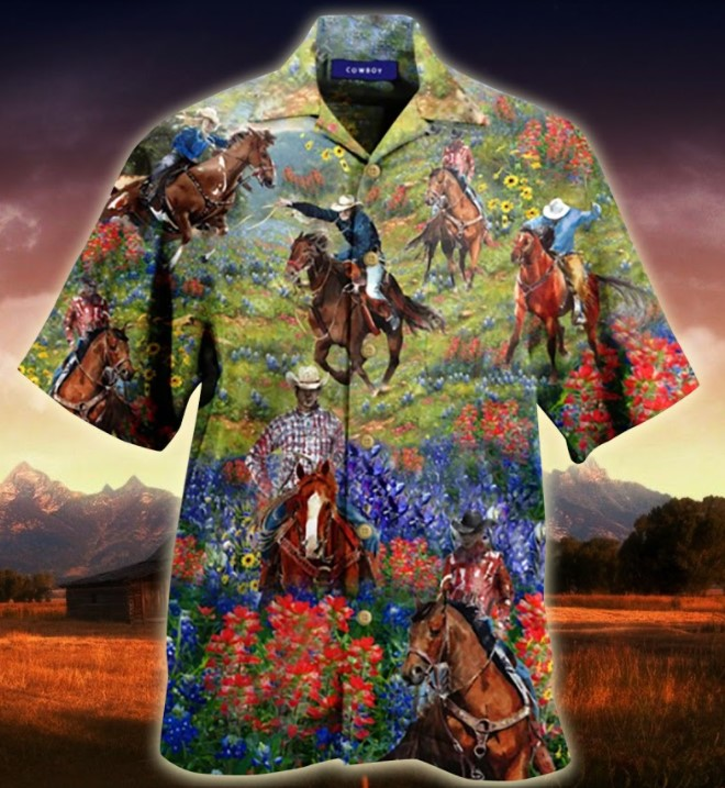 Bluebonnet and texas cowboy hawaiian shirt