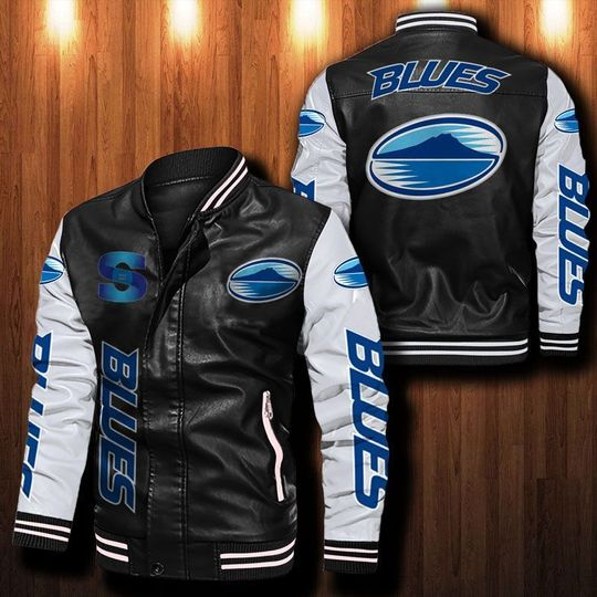 Blues Rugby Leather Bomber Jacket