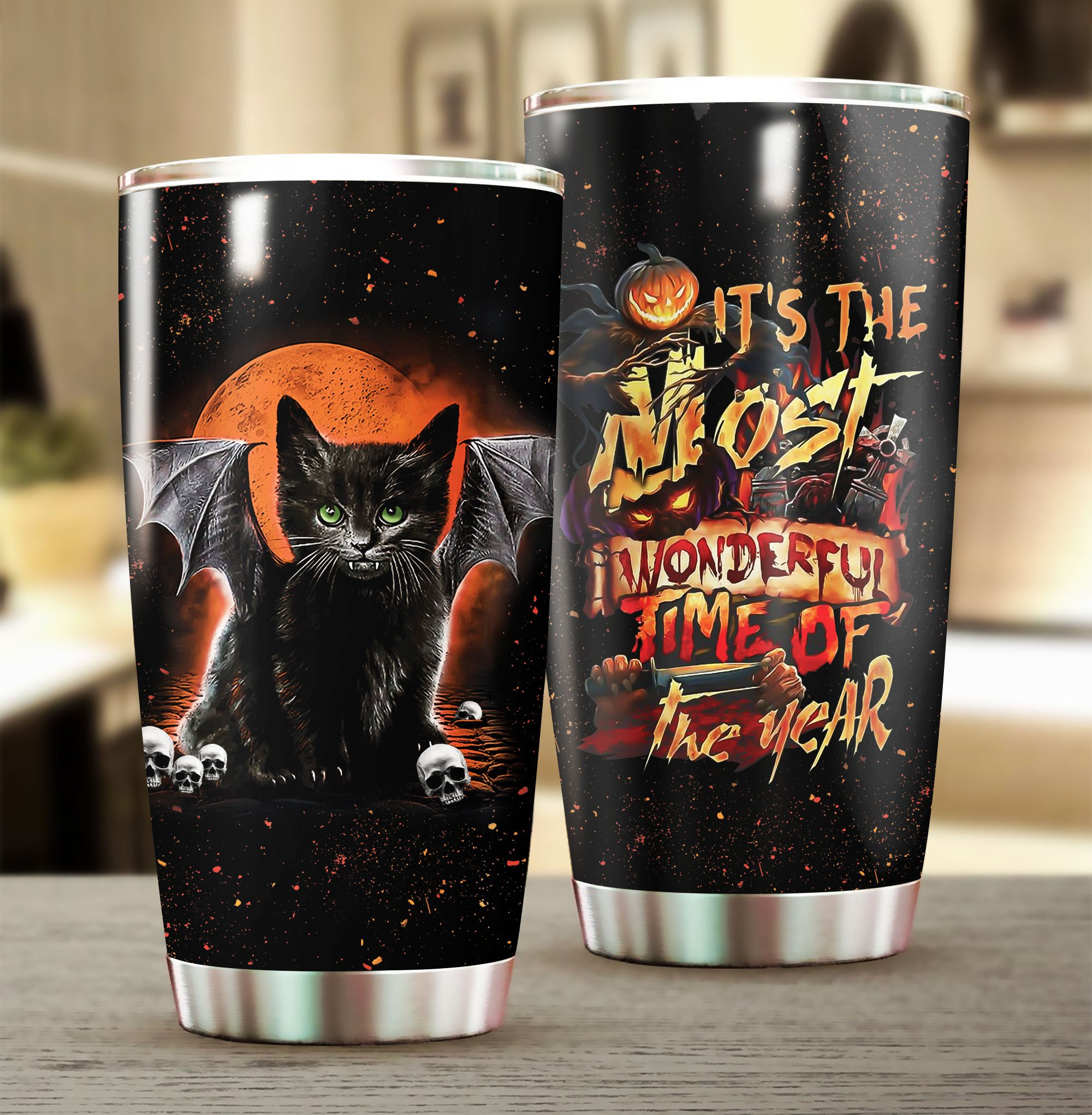 Cat Its the most wonderful time of the year Halloween Tumbler 1