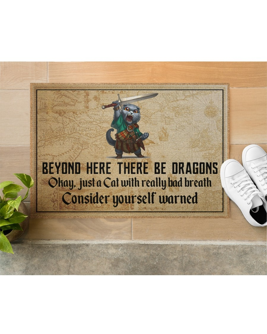 Cat beyond here there be dragons doormat