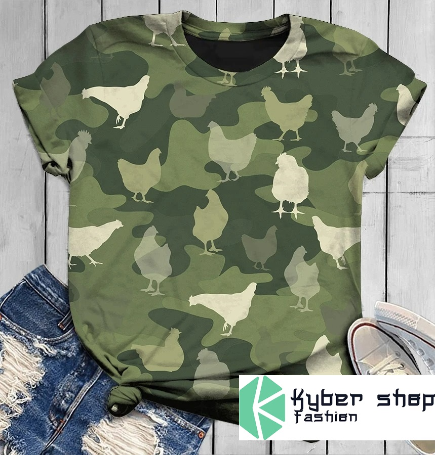 Chicken in green 3D shirt and hoodie