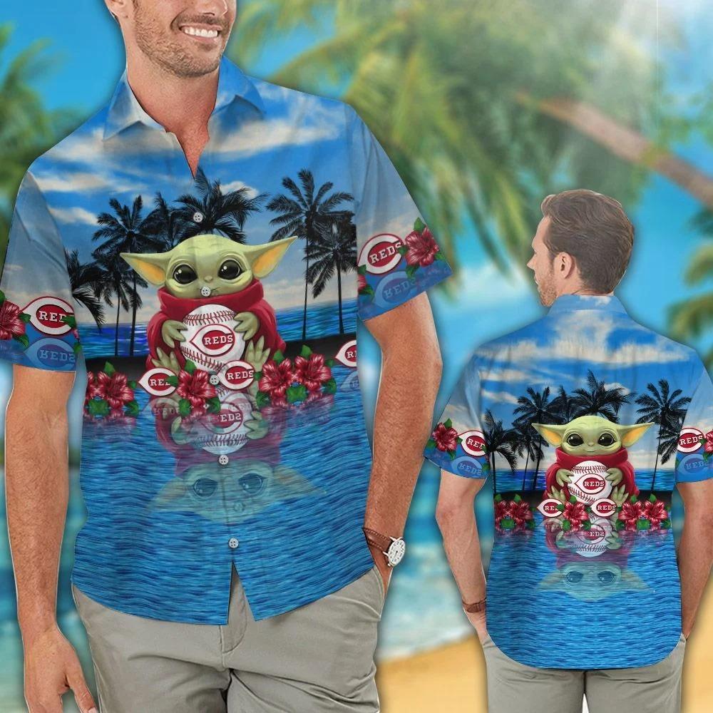 Cincinnati Reds And Baby Yoda Hawaiian Shirt Shorts