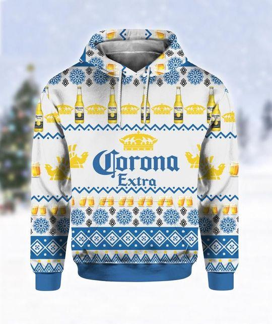 Corona Extra Beer Ugly Christmas 3D Hoodie 1
