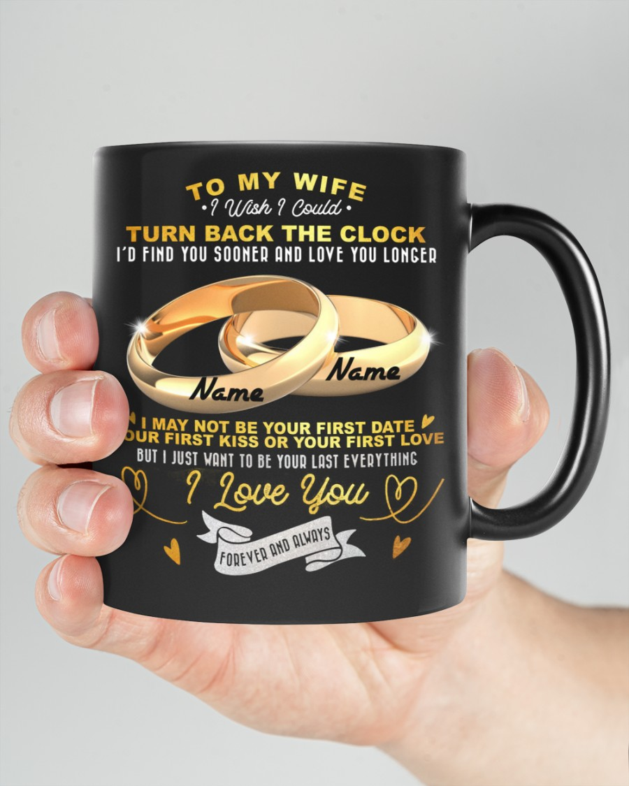 Couple rings to my wife I love you forever and always custom name mug