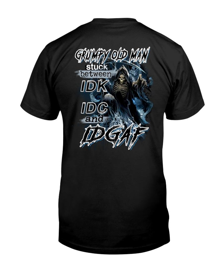 Death Skull Grumpy Old Man Stuck Between Idk Idc And Idgaf Shirt
