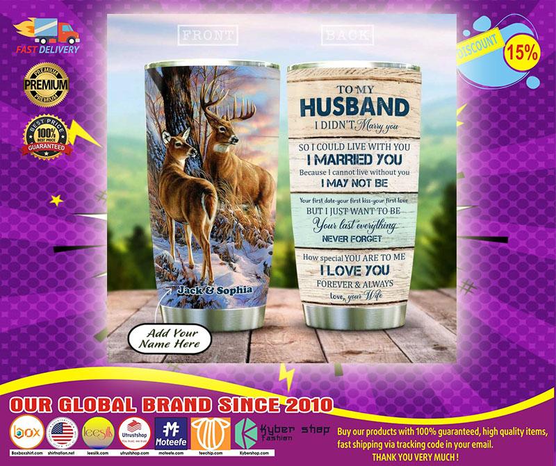 Deer couple to my husband custom name tumbler