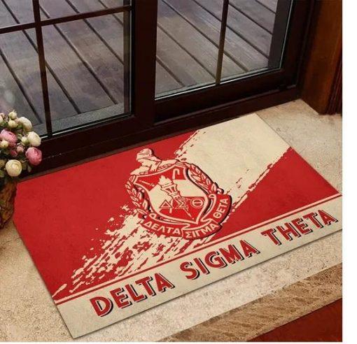 Delta Sigma Theta 1913 Emblem Red and Beige Doormat