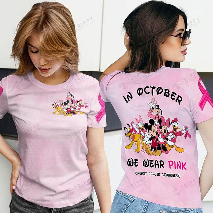 Disney In October We Wear Pink Breast Cancer Awareness 3D Hoodie Shirt1