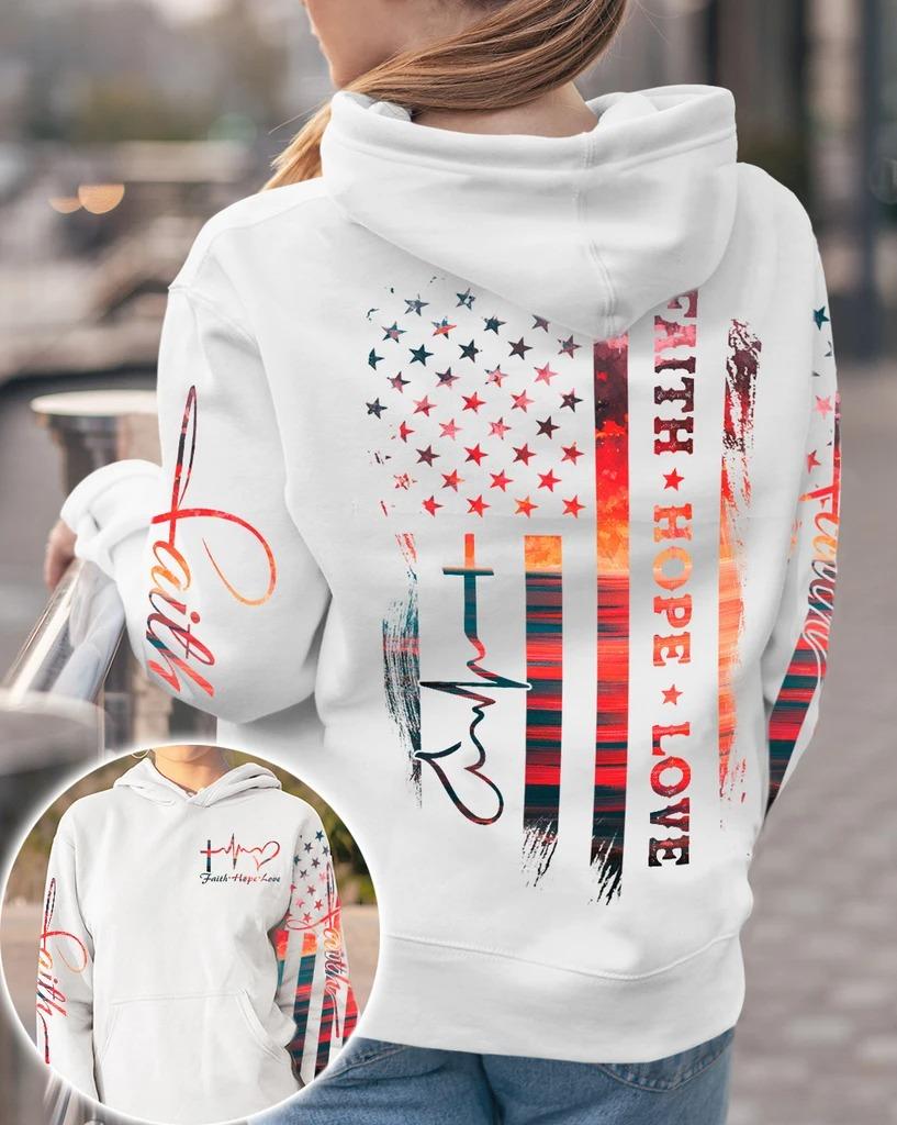 Faith hope love sunset beach 3D hoodie