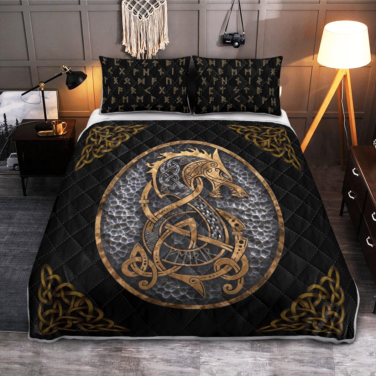 Fenrir Dragon Viking quilt bedding set 1
