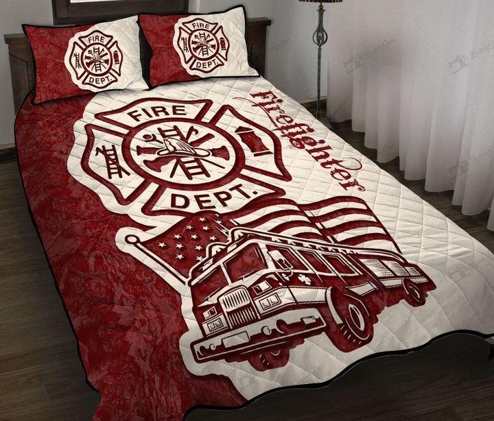 Firefighter truck quilt bedding set
