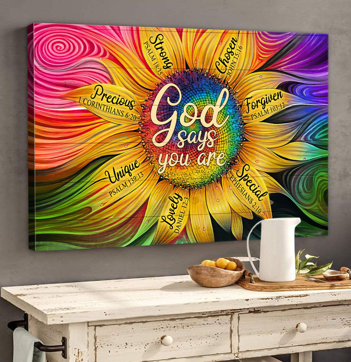 God says you are lovely strong unique sunflower canvas