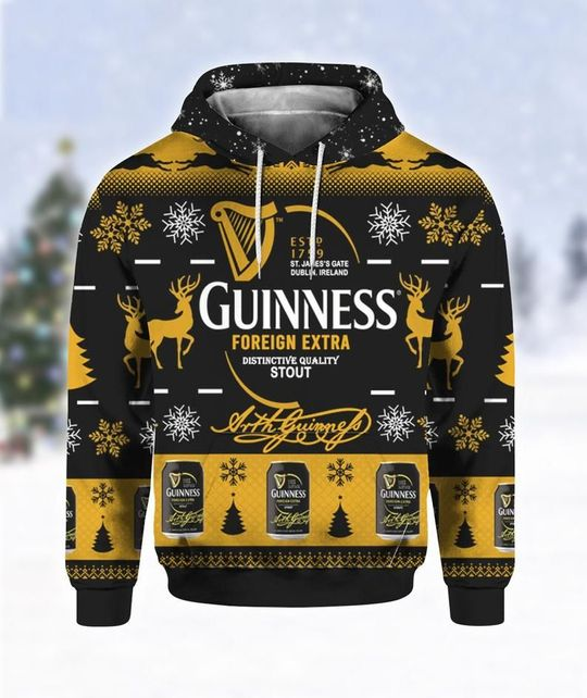 Guinness Foreign Extra Ugly Christmas 3D Hoodie 1