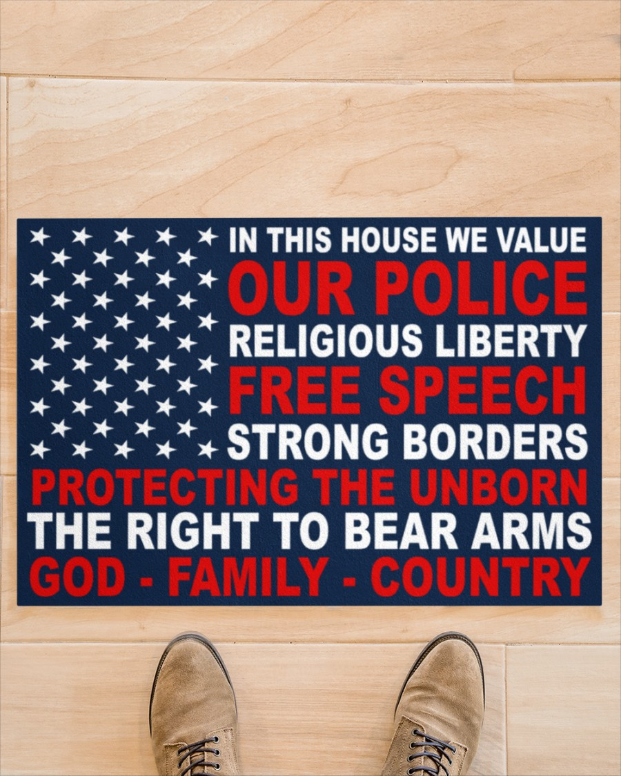 In this house we value our police religious liberty free speech strong borders doormat 2