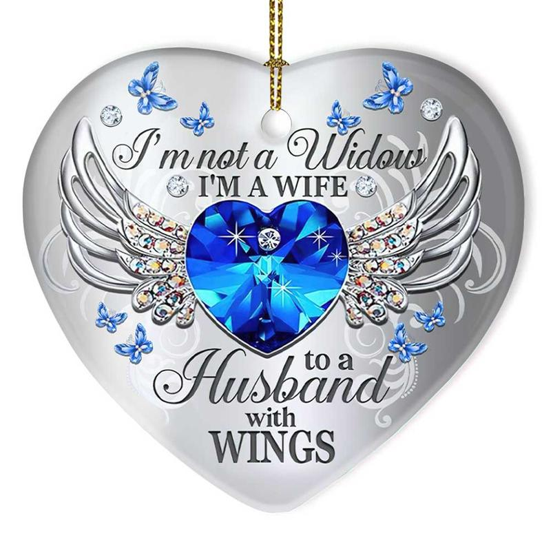 Jewelry wings im not a widow im a wife to a husband with wings heart ornament 4