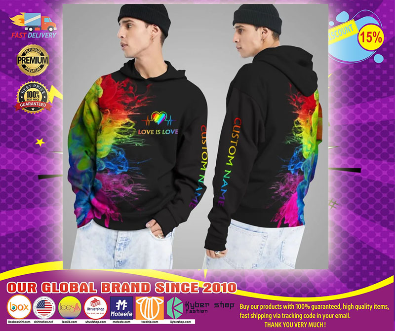 LGBT Love is love rainbow heartbeats custom name 3D hoodie