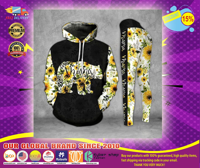 Mama bear Sunflower 3D hoodie and legging