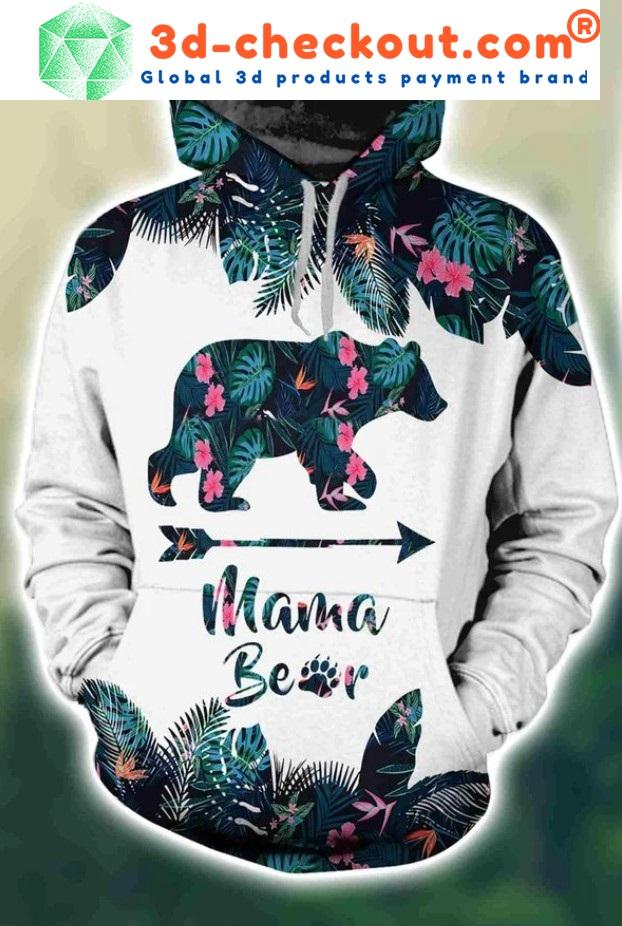 Mama bear tropical leaves 3D hoodie and legging