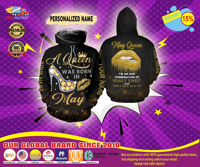 May queen really sweet and don't mess with me custom name 3D hoodie and legging