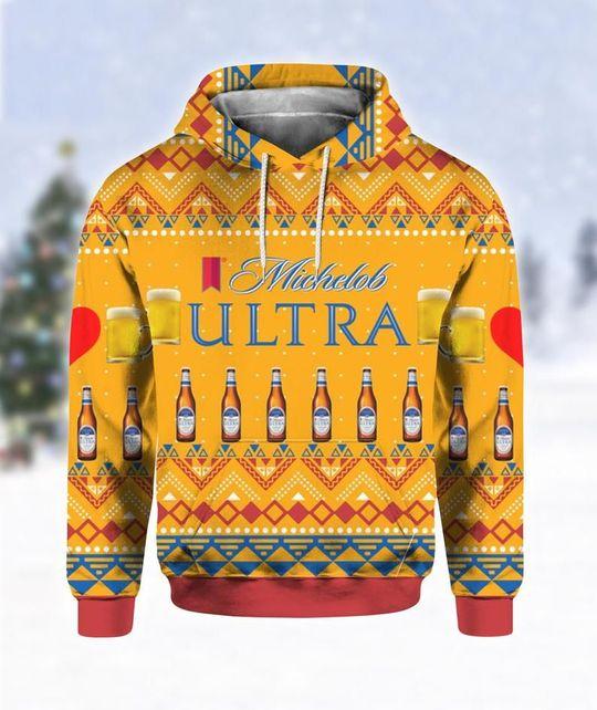 Michelob Ultra Beer Ugly Christmas 3D Hoodie 1