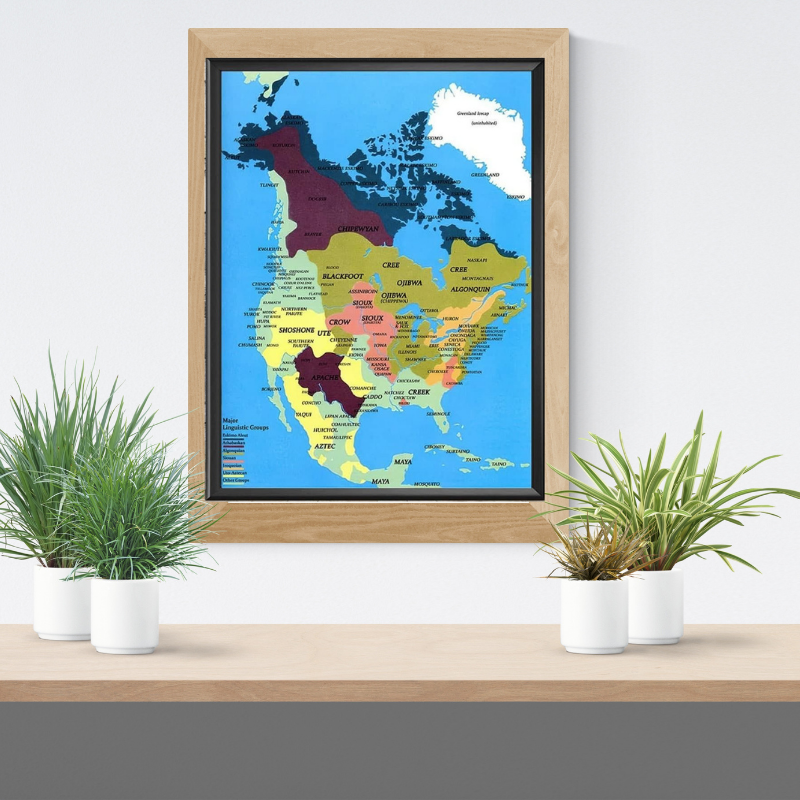 Native American tribes map poster 1