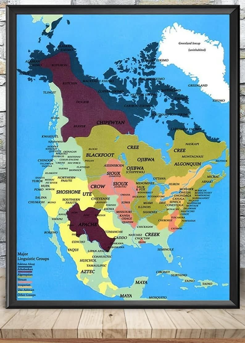 Native American tribes map poster
