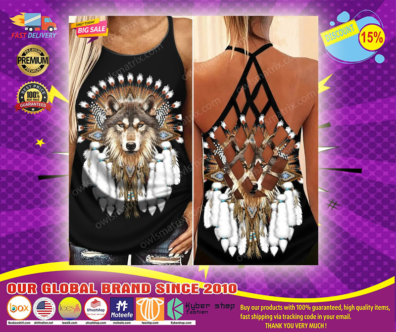 Native American wolf Criss cross Strappy tank top