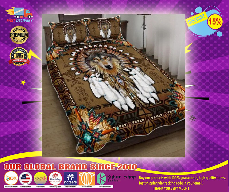 Native american wolf spirit bedding set