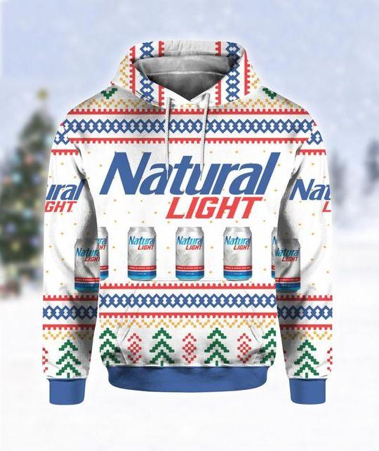 Natural Light Beer Ugly Christmas 3D Hoodie 1