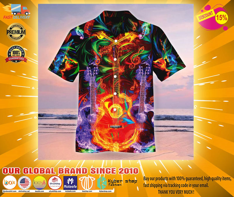 Neon Guitar Hawaiian shirt