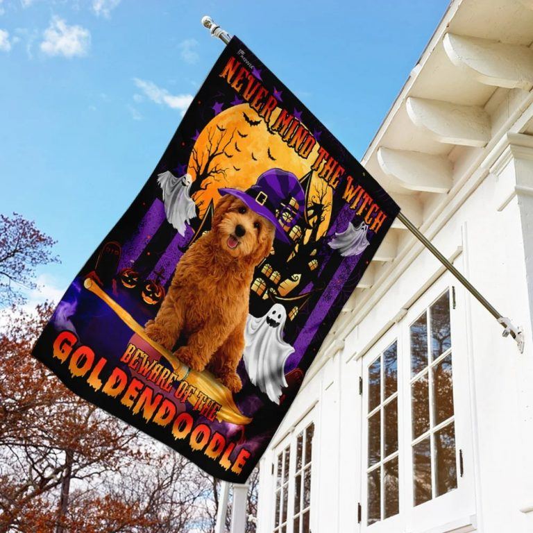 Never Mind The Witch Beware Of The Goldendoodle Halloween Flag 1